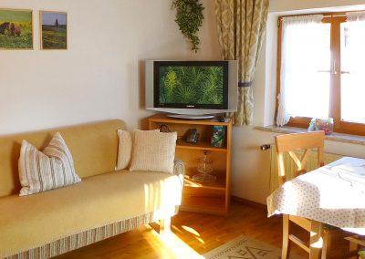 Schlafcouch im Wohnzimmer der Ferienwohnung SCHWALBE in Bad Bayersoien.